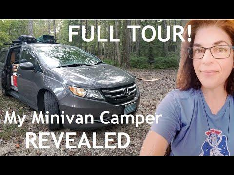 My minivan camper REVEALED! Full in-depth conversion van tour