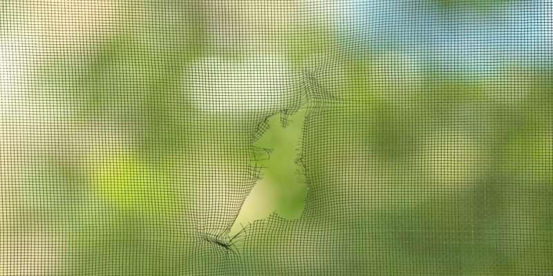 torn RV window screen
