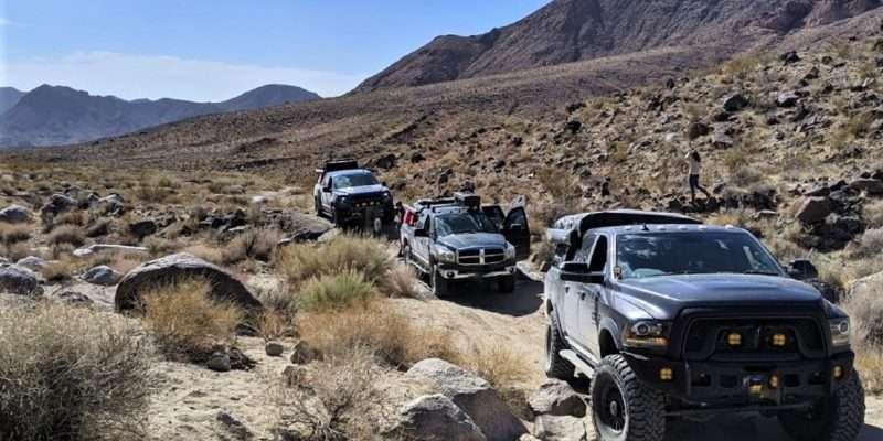 off road overland vehicles in desert